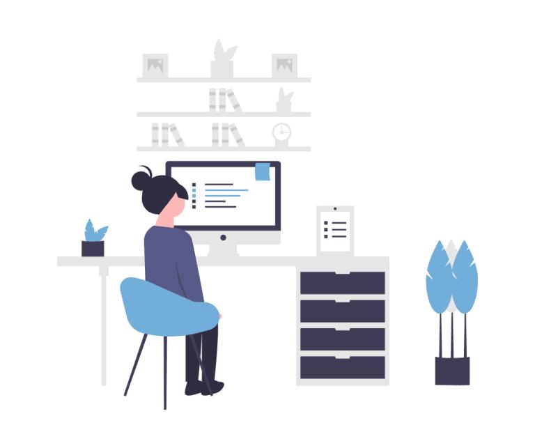 Vrouw die thuis werkt alsof ze op kantoor zit met een online werkplek